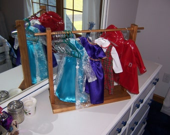 "American Girl or 18"" Doll Clothes Display and Storage Rack w/ 5 custom made hangars"