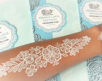 White Henna Lace Tattoo Transfer - Flower Lace
