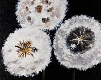 Dandelion, original acrylic painting, wall art, 12 x 12