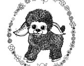 Vintage style Sheep digital stamp cute lamb and flower circle black outline drawing for card making and crafts