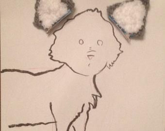 Handmade crochet Wolf ears, halloween costume ears