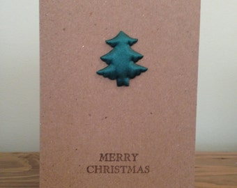 Christmas Card with Satin Tree Embellishments | A6 | Recycled Card