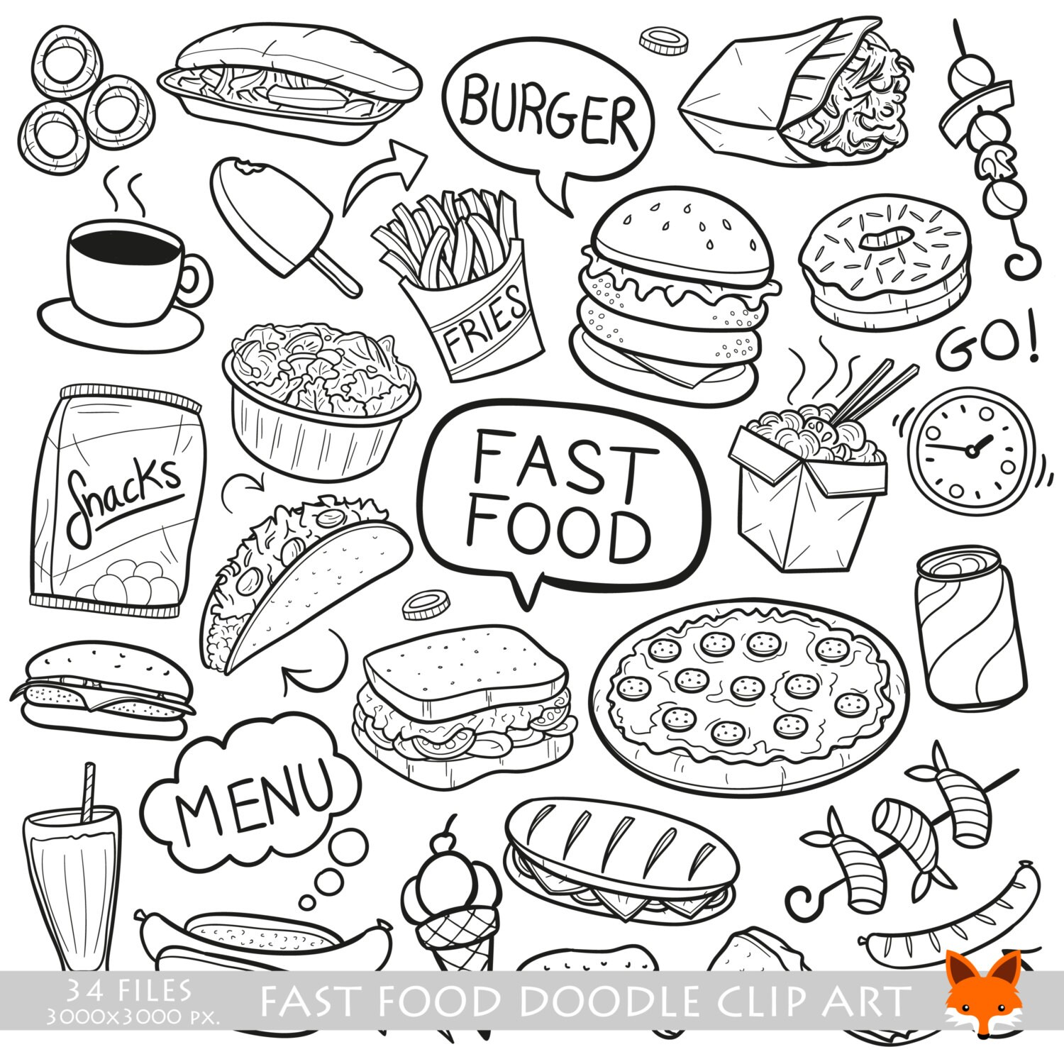 fast food day restaurant menu doodle icons clipart scrapbook