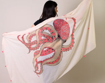 Women's Fabulous Octopus Boho Scarf with Pom-poms. Evening Shawl. Shoulder Wraps. Unique Gift Ideas for Her