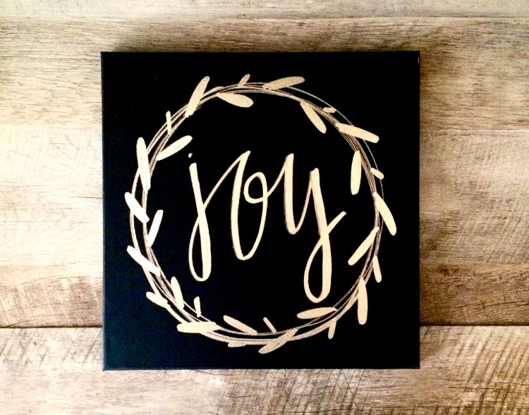 Merry Christmas Quote Wall Art Decal: Joy Wreath Canvas Sign 12x12 Home Decor Christmas By ADEprints