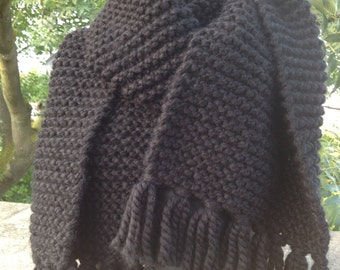 Super chunky handknitted oversized scarf in black
