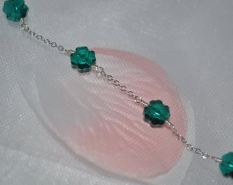 925 Sterling Silver Chains and Swarovski Emerald Clover Beads Bracelet