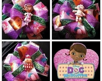 Doc Mcstuffins bows, Doc, Lambie, Stuffy, Hallie, Chilly, Hair Bow, Disney Hair bow, Disney Jr, birthday party favors