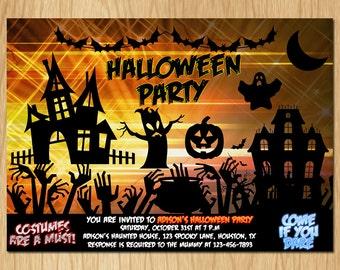 Halloween Party Invitation Kids Halloween Party Invite Boy or Girl Printable digital DIY PH002