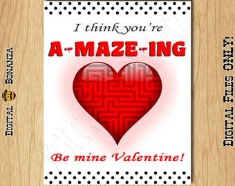Be Mine Valentine   I Think Youu0027re AMAZING Valentine Card Single Sided Or  Folded
