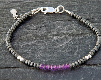 Amethyst bracelet.Hematite bracelet.Gemstone bracelet.Sterling silver bracelet.Tiny silver bead bracelet.Friendship bracelet.GE043