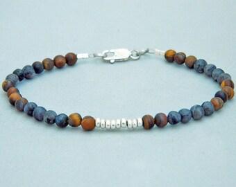 Larvakite Frosted.Tiger eye bracelet.Men bracelet.Gemstone bracelet.Sterling silver bracelet.Tiny silver bead bracelet.Friendship.H012