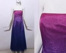 90s strapless ombre gown pink fuchsia purple blue formal maxi dress prom rhinestone embellished sparkle glitter boning corset glam party M L