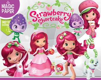Strawberry Shortcake Clipart - Digital 300 DPI PNG Images, Photos, Scrapbook, Digital, Cliparts - Instant Download