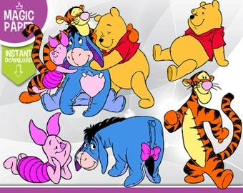 Winnie The Pooh Clipart - Digital 300 DPI PNG Images, Photos, Scrapbook, Digital, Cliparts - Instant Download