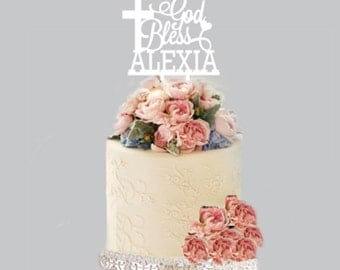 Personalised Cake Topper - God Bless + NAME