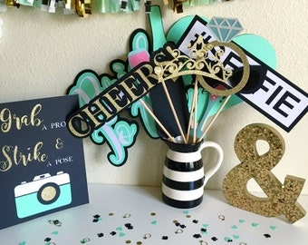 Photo Booth Props | Bridal Shower Photo Booth Props | Mint Green Photo Booth Props | Mint and Gold Party Decor | Mint to Be Decor | Seafoam