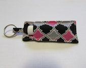 Pink & Black Chapstick Holder Keychain