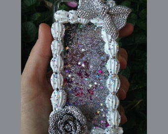 iPhone 5c Sparkly Silver Glitter Waterfall Decoden Case