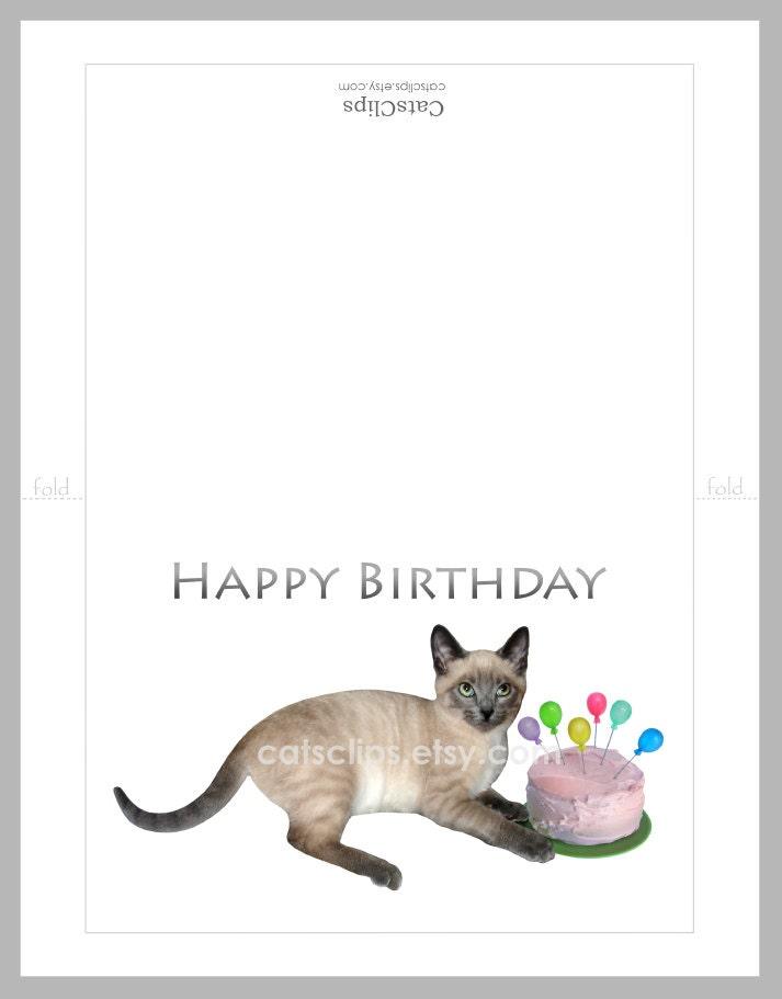 Siamese Kitten With Cake Printable Birthday Card Digital Cat