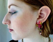 PINK SPICE DANGLE Earrings Hand Beaded by Designer Colleen Toland