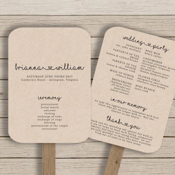 Wedding Fan Program Template Rustic Wedding Fan Printable