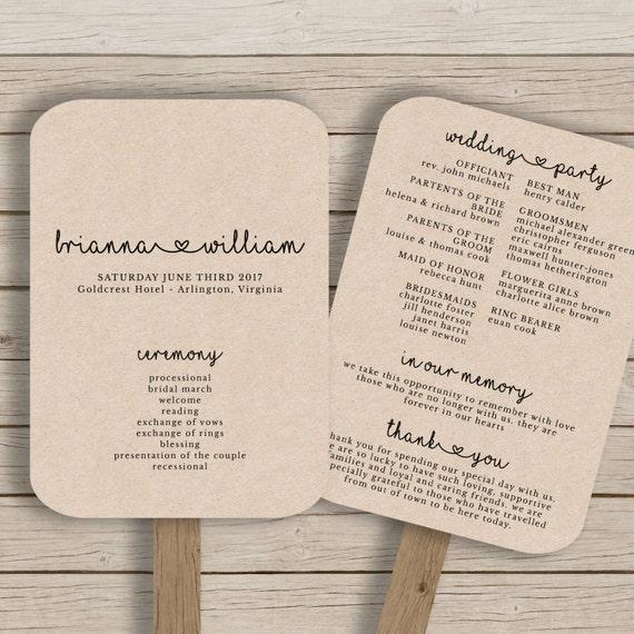 wedding fan program template rustic wedding fan printable. Black Bedroom Furniture Sets. Home Design Ideas