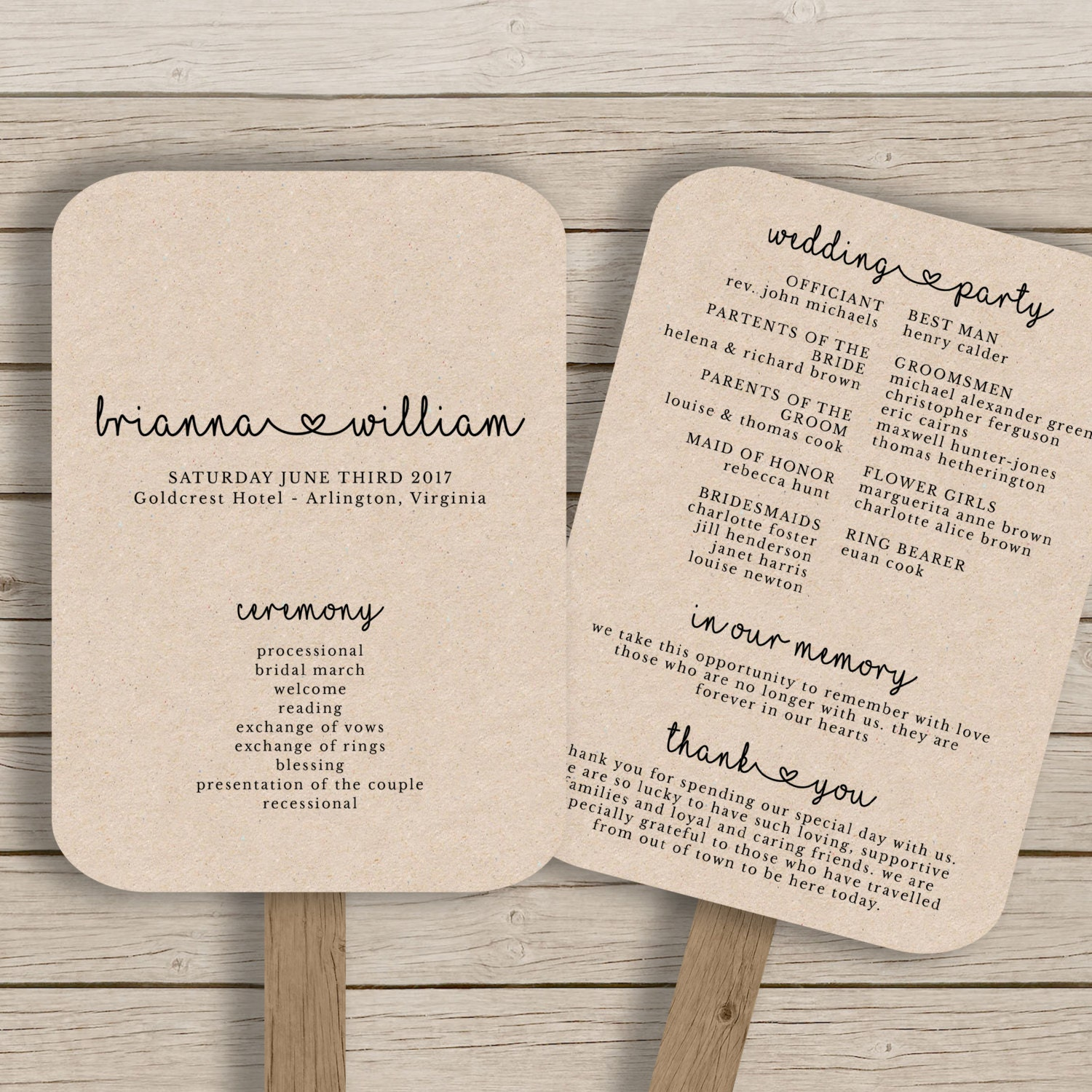 Wedding fan program template rustic wedding fan printable for Wedding programs fans templates free