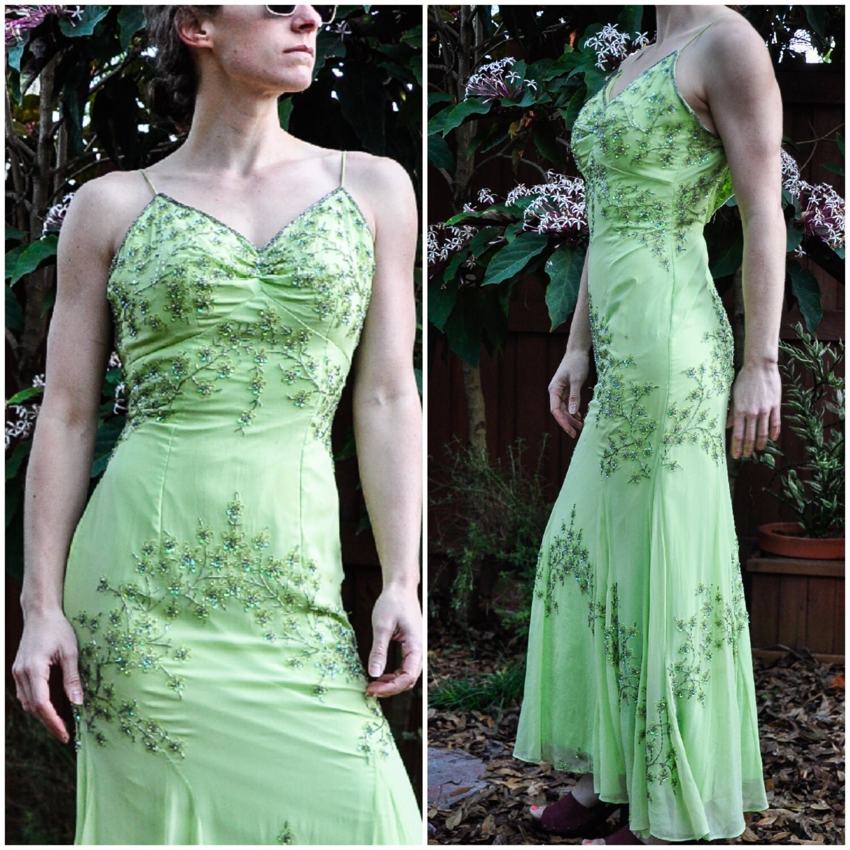 Vintage 1990s Green Beaded Prom Dress / 90s Sean Prom Dress