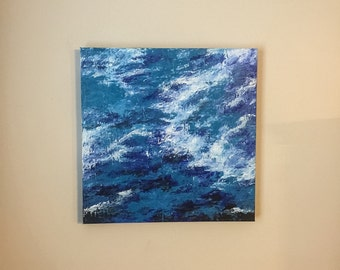 Abstract Acrylic Painting in Blue 20x20