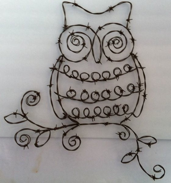 Wire Kitchen Wall Decor : Barbed wire owl wall art home decor birds customart kitchen