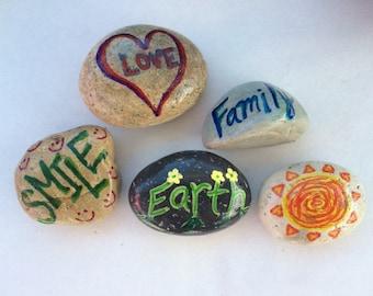 Unique multi-color painted rocks 5-pack