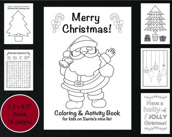Christmas Coloring and Activity Book, Printable Christmas Coloring Book, Kid's Holiday Activity Book, Holiday Coloring Book Instant Download