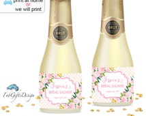 Printable Bridal Shower Mini Champagne Bottle Label, Mini Wine Bottle Labels, DIY  Wedding Stickers, Floral Pink Roses Invitation  - 046