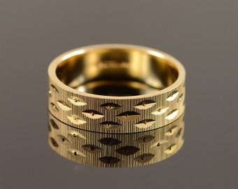 14K 6mm Diamond Cut Textured Wedding Ring Size 10.25 Yellow Gold