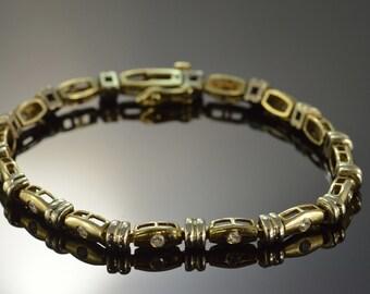 "14K 0.50 CTW Diamond Heavy Modern Design Tennis Bracelet 7.5"" Yellow Gold - EL9529"