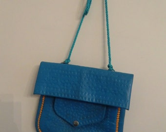 Beautiful blue leather bag (Origin: Marrakech-Morocco