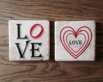 Love Natural Stone Coasters. Set of 2 handmade Coasters.
