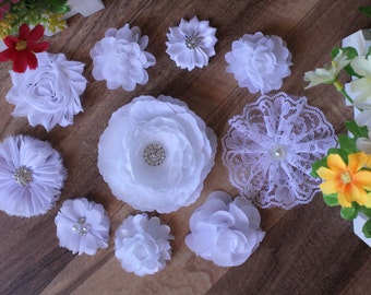 10x Christening White Baby DIY Flowers Wedding Embellishment Craft Chiffon