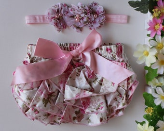 Baby Bloomers Set Girl Headband Flower Hair Band Nappy Cover Newborn Outfit Photo Prop