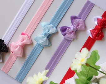 5x Baby Bow Headband Newborn Baby Girl Hair Band FOE Elastic band Wholesale Bulk