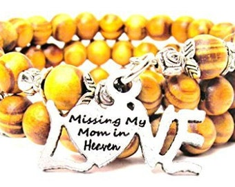 Handmade Missing My Mom In Heaven Wrap Around Wood Bracelet