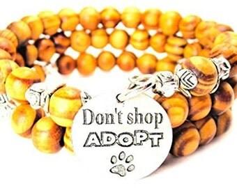 Handmade Don'T Shop Adopt Wrap Around Wood Bracelet