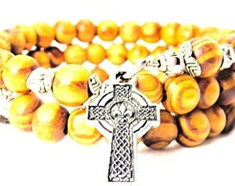 Handmade Celtic Cross With Fleur De Lis Center Wrap Around Wood Bracelet