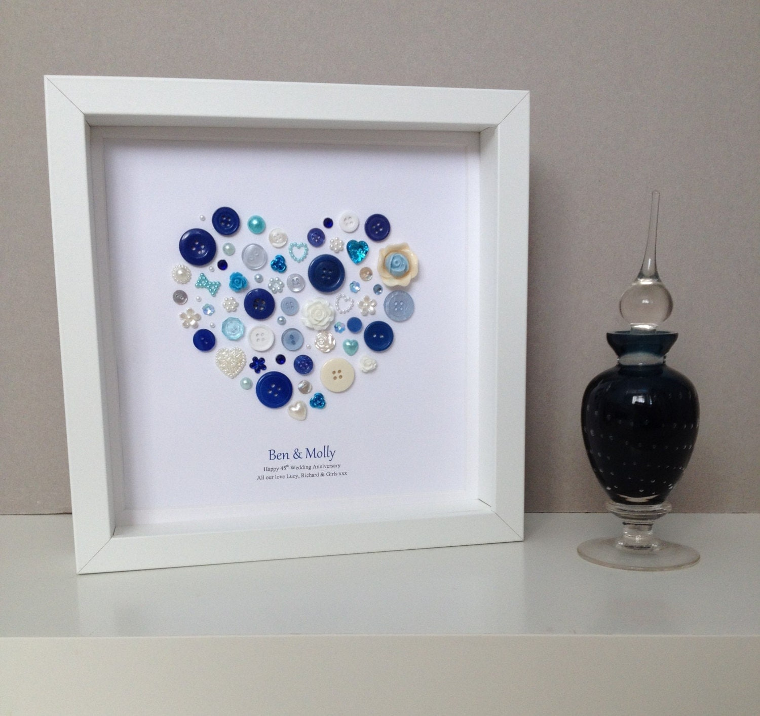 15th Wedding Anniversary Gift Ideas For Parents : Sapphire Wedding Anniversary 45th Wedding by ButtonArtbySophie