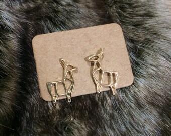Minimalist Deer Earrings in Gold