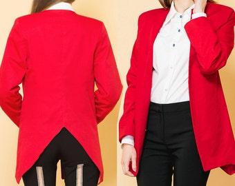 20%OFF Red Blazer, Open Front Blazer, Loose Fit Blazer, Long Sleeve, Womens Blazer, Backless, Autumn Blazer, Jacket, V Neck, Unique, Elegant