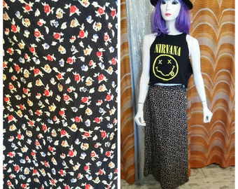 90's floral midi skirt with side buttons