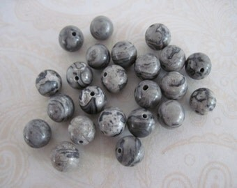 Scenery Jasper 8mm Round Beads, Gray Round Beads, Gray Stone Beads, 8mm Gray Beads, Destash Beads,