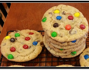 Jumbo M&M Chocolate Chip Cookies  - 1 Dozen